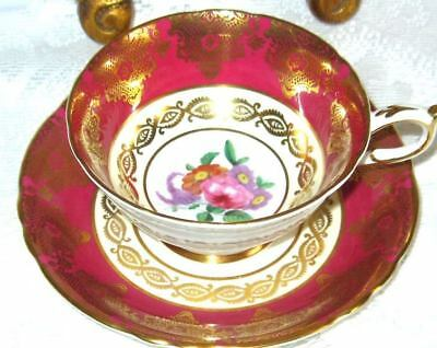 PARAGON Tea Cup and Saucer Floral Center Raspberry/Red Gold Gilt Teacup