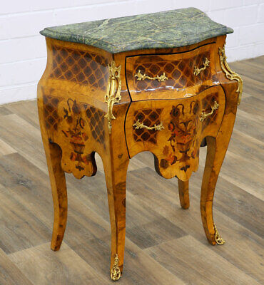 KOMMODE mit 2-SCHUBLADEN + grüne MARMORAUFLAGE - COMMODE with green MARBLE TOP