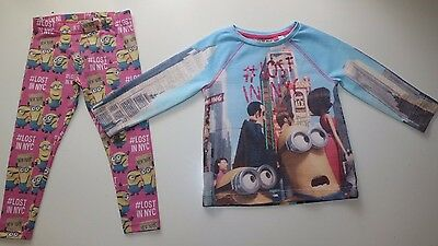 Next Minions Lost In Nyc- Jumper & Pink Cotton Leggings Set Outfit Girls 3 Years