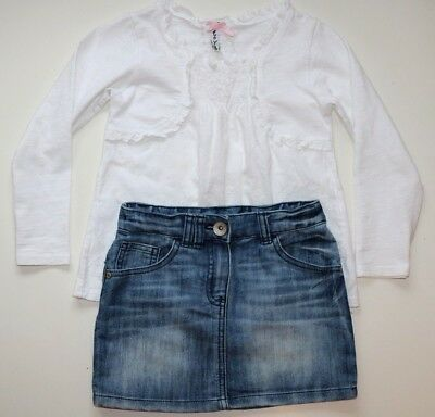 Next - Vintage Floral Embroidered Blouse & Denim Skirt Outfit - Girls 4 Years