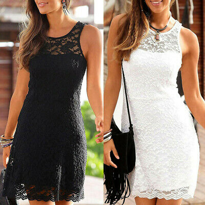 Sexy Women's Summer Casual Lace Above Knee Party Dresses Sleeveless Swing Dress