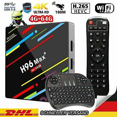 4GB/64GB H96 MAX Plus Android 9.0 Smart TV Box Quad Core 4K mit Keyboard HD 4K
