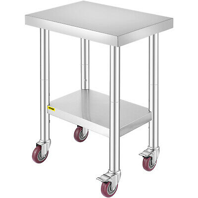 """Work Table with Wheels 24""""X18"""" Stainless Steel 4 Casters Adjustable Undershelf"""
