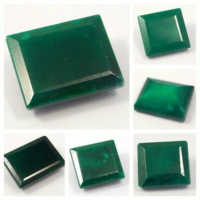Natural Dyed Faceted Square Green Emerald Cut Cabochon Gemstone RM8523-8548