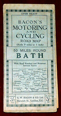 """Bacon's 5"""":1 Mile Linen Backed Map Motoring & Cycling Map Of 50 Miles Round Bath"""
