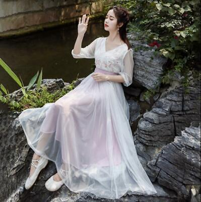 Ladies Retro Chic White Dress Long Chinese Ancient Fairy Clothes Hanfu Tang Sets