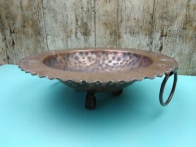 "Stunning Arts & Crafts Era Tri Footed Hammered 11"" Copper Bowl With Loop Handles"