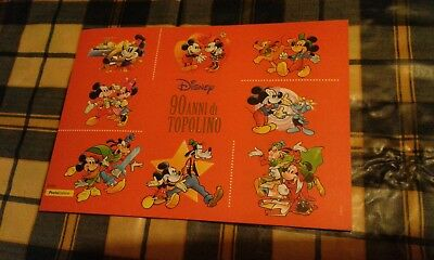 FOLDER POSTE ITALIANE 90 anni di TOPOLINO CON LE 8 TESSERE DISNEY COLLECTION