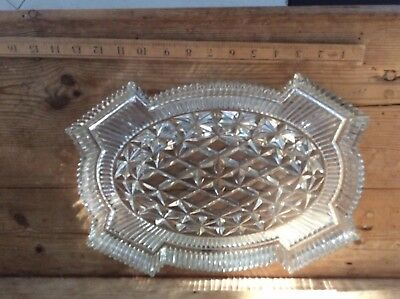 Vintage Retro French Crystal Press Glass Dressing Table Plate Dish Heavy Quality