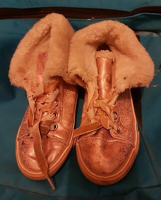 Next Girls Flats Fur Warm High Top Leather Boots Lace Up Shoes Gold Size UK 12