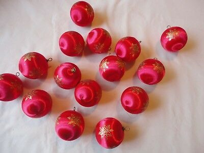 "Lot of 15 Vintage SATIN Styrofoam Ornaments Red with Gold Snowflakes  2 1/2""size"