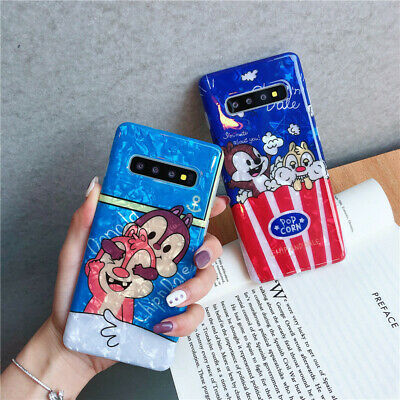 For Samsung galaxy S10+ S9+ note 8 9 Cute Chip 'n' Dale Popcorn soft phone case
