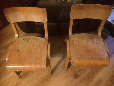 Pair of Small Stacking Retro Wooden School Chairs