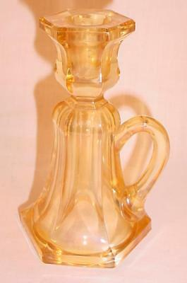 Antique Victorian Yellow Pressed Glass Finger Hold Candle Stick Holder