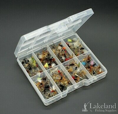 Tackle Fly Box + Assorted Mixed Dry Flies for Trout Fishing - Starter Kit