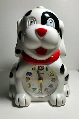 Novelty Dalmatian With Patch Quartz Alarm Clock Barking Musical Battery Operated