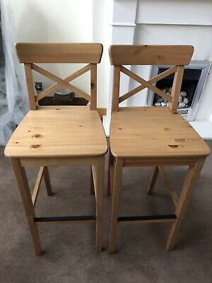 Astonishing Ikea Ingolf Solid Pine Bar Stools With Back Rest 76 00 Andrewgaddart Wooden Chair Designs For Living Room Andrewgaddartcom