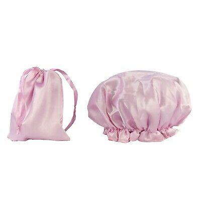 Dilly's Collections Shower Caps / Matching Satin Bag Waterproof Travel Sets Pink