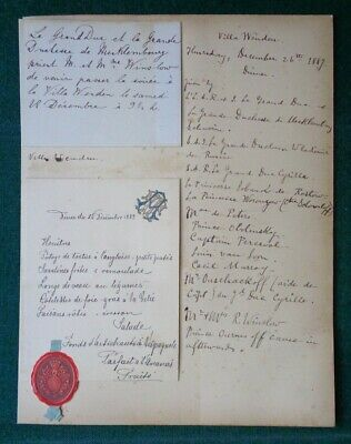 Antique Menu Villa Wenden Grand Duchess Anastasia Romanov Russia Mecklenburg