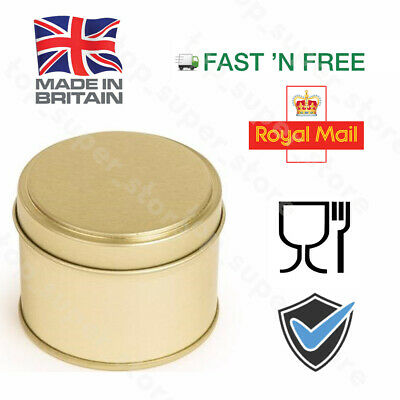10 X 250ML GOLD Candle Tins Round Container Tin  Round Step Lid Welded Seam bulk