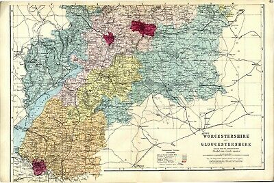 1883 Antique Map WORCESTER GLOUCESTER Sth County HOUSES Farms RAILWAYS Stations