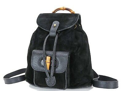 5b41e47fb577 Authentic GUCCI Black Suede and Leather Bamboo Handle Mini Backpack Bag  #32630