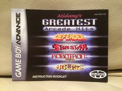 Midway's Greatest Arcade Hits - Nintendo Game Boy Advance Instruction Booklet