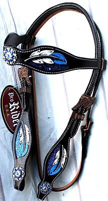Horse Show Saddle Tack Rodeo Bridle Western Leather Headstall 78108HB