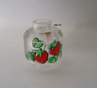 Head with Red Strawberries with Green Pattern Trans-Clear new Minifig LEGO