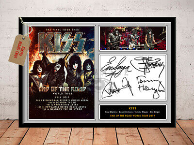 KISS GENE SIMMONS SIGNED Photo Print END OF THE ROAD TOUR 2019 UK Free Postage