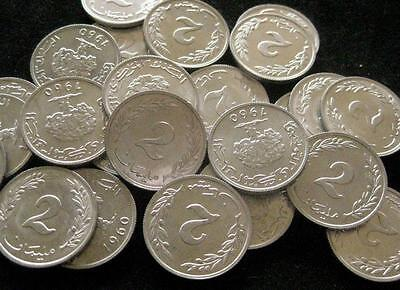 Tunisia 2 Millim 1960  BU lot of 25 BU coins