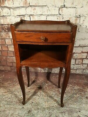 Vintage French Louis Antique Style Oak Bedside Lamp Pot Cupboard Cabinet Table