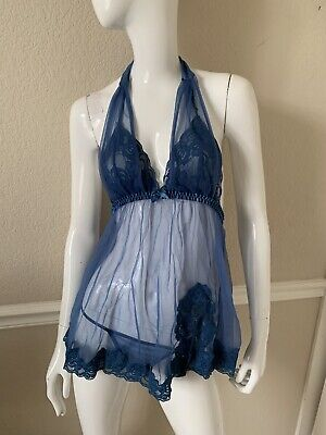 Frederick's of Hollywood Sheer Lace Blue 2-Pc Babydoll/Panties Nightie Set S/M