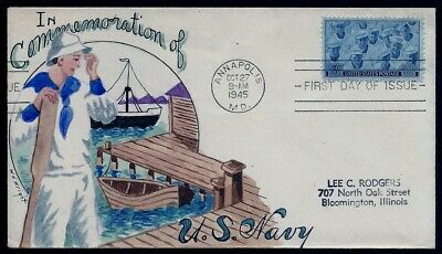 WILLIAM WRIGHT Hand Painted :1945 United States Navy - a First Year Wright Cover
