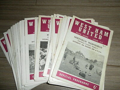 West Ham United Home Programmes 1967 - 9 Select From List