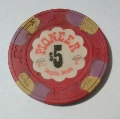Pioneer Hotel Casino Laughlin, Nevada $5.00 Gaming Chip Great For Collection!
