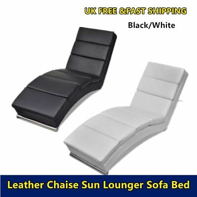 Comfort Leather Chaise Longue Sofa Padded Seat Chair Day Bed Furniture Modern UK