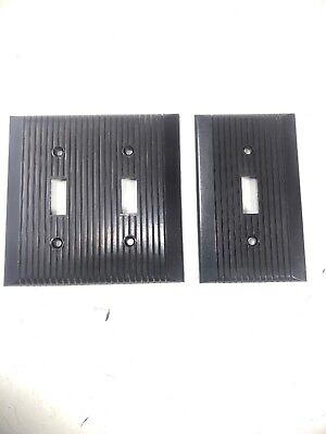 Vintage Bakelite Brown Ribbed Single Switch Plate Cover Art Deco