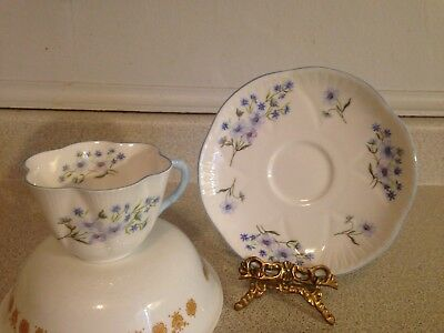 Dainty Shelley England Blue Rock Bone China Tea Cup And Saucer