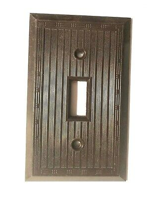 Vintage Art Deco Ribbed Bakelite Toggle Switch Cover Plates brown