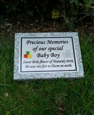 Personalised Grey Granite Baby Memorial Grave Plaque Stone Polished Finish