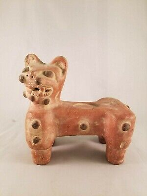 One of a kind Pre-Colombian Ceramic Cat Figure - Red