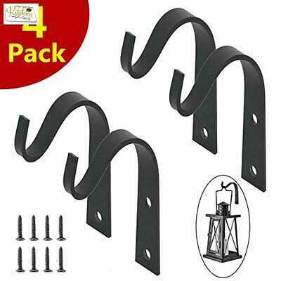 4 Pack Iron Wall Hooks Metal Wall Mounted Hook Decorative Heavy Duty Curved