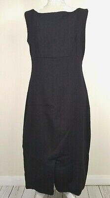 Vintage 80s Droopy & Browns Angela Holmes AMH Pure Wool Black Dress Size 12 14