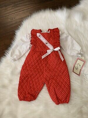 Vintage Baby Girls Overalls Pinafore Ruffle Red White 6M 9M Outfit 80s Quilted