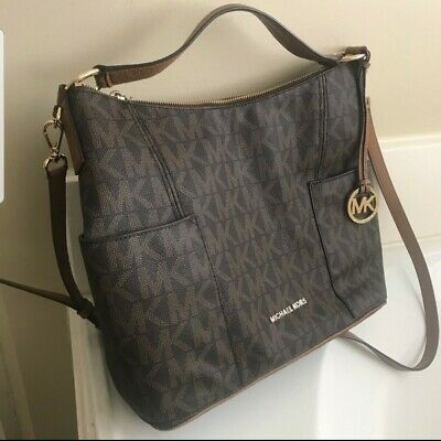 45b39d9dbbc5 Michael Kors Signature Anita Lg Convertible Shoulder Bag   Fulton Wallet  Brown.