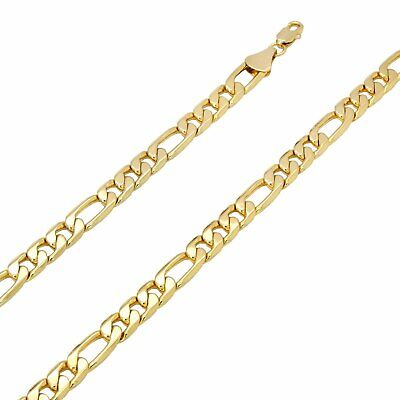 """14k Italian Figaro Link Chain Necklace 10 mm 24"""" Inches Gold Plated"""