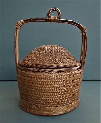 12cbd9c09 Vintage CHINESE WEDDING BASKET woven wicker bamboo domed lid picnic lunch  sewing
