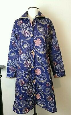 Vintage Quilted Long Dressing Gown Robe House Coat Blue Size 10-14