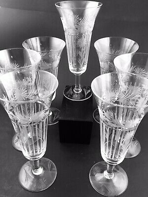 Set Of 7 Glastonbury-Lotus #28-3 Tall Ale Goblets Cut Glass Art Deco Stems